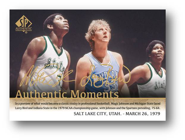 Authentic Moments Card with Magic Johnson & Larry Bird 1979